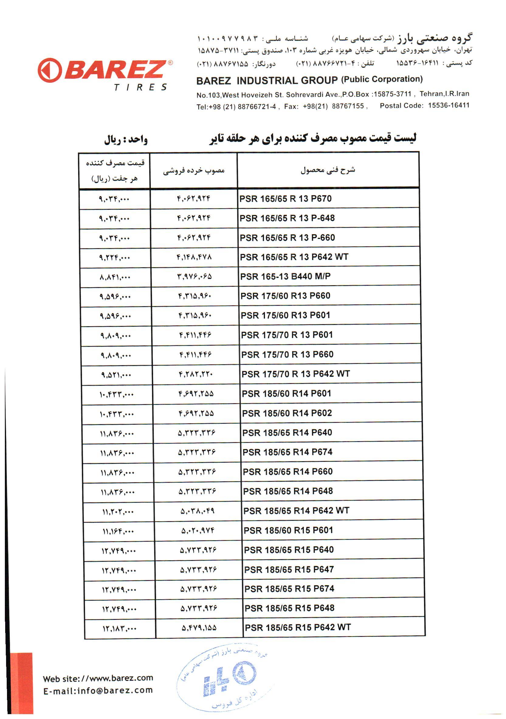 قیمت لاستیک دولتی لیست قیمت لاستیک بارز در آذر ماه 99 - 1