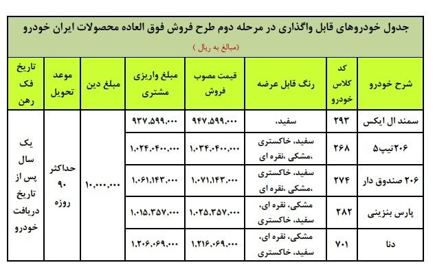 قیمت و شرایط فروش فوق العاده ایران خودرو مرحله دوم