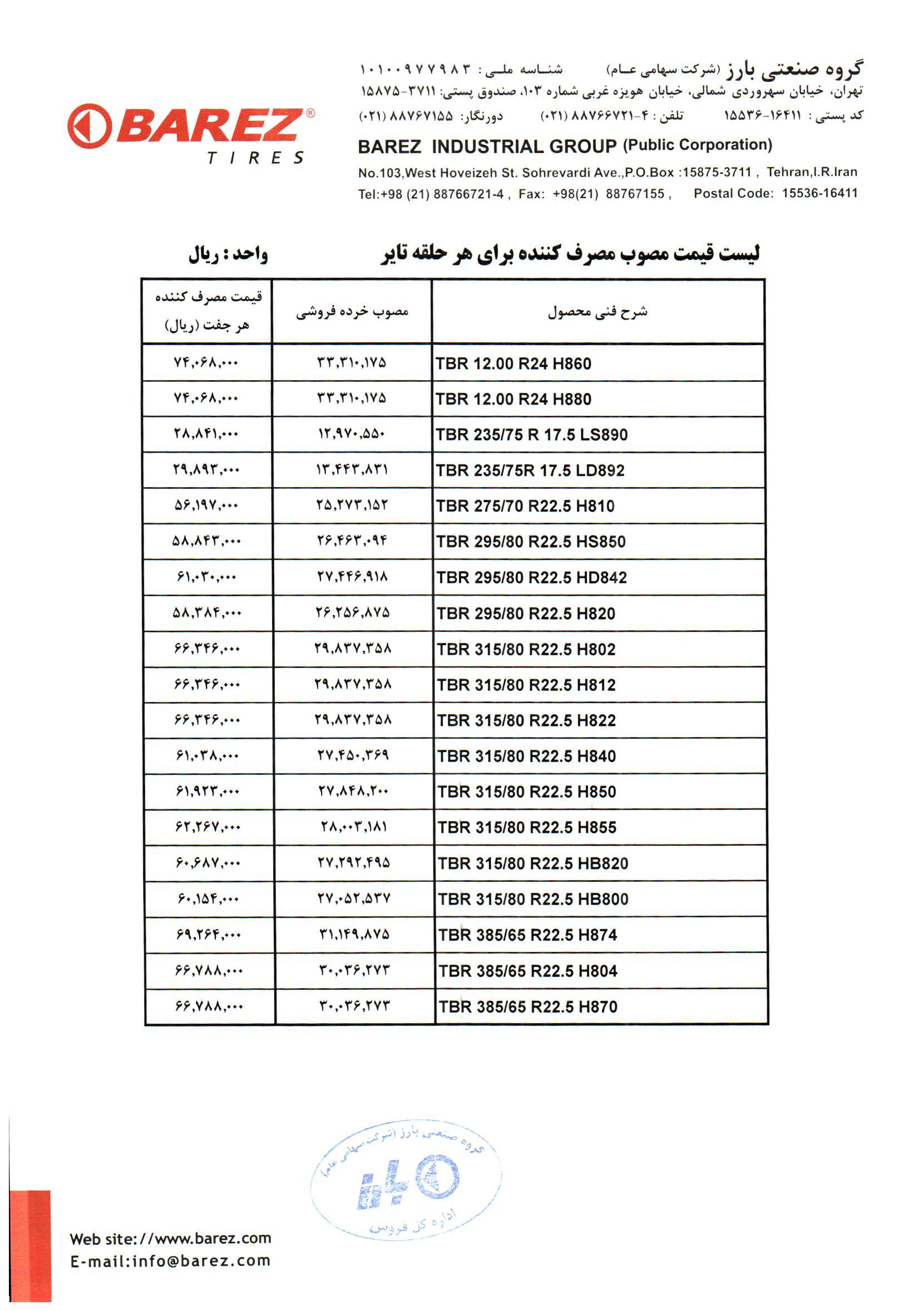 قیمت لاستیک دولتی لیست قیمت لاستیک بارز در آذر ماه 99 - 4