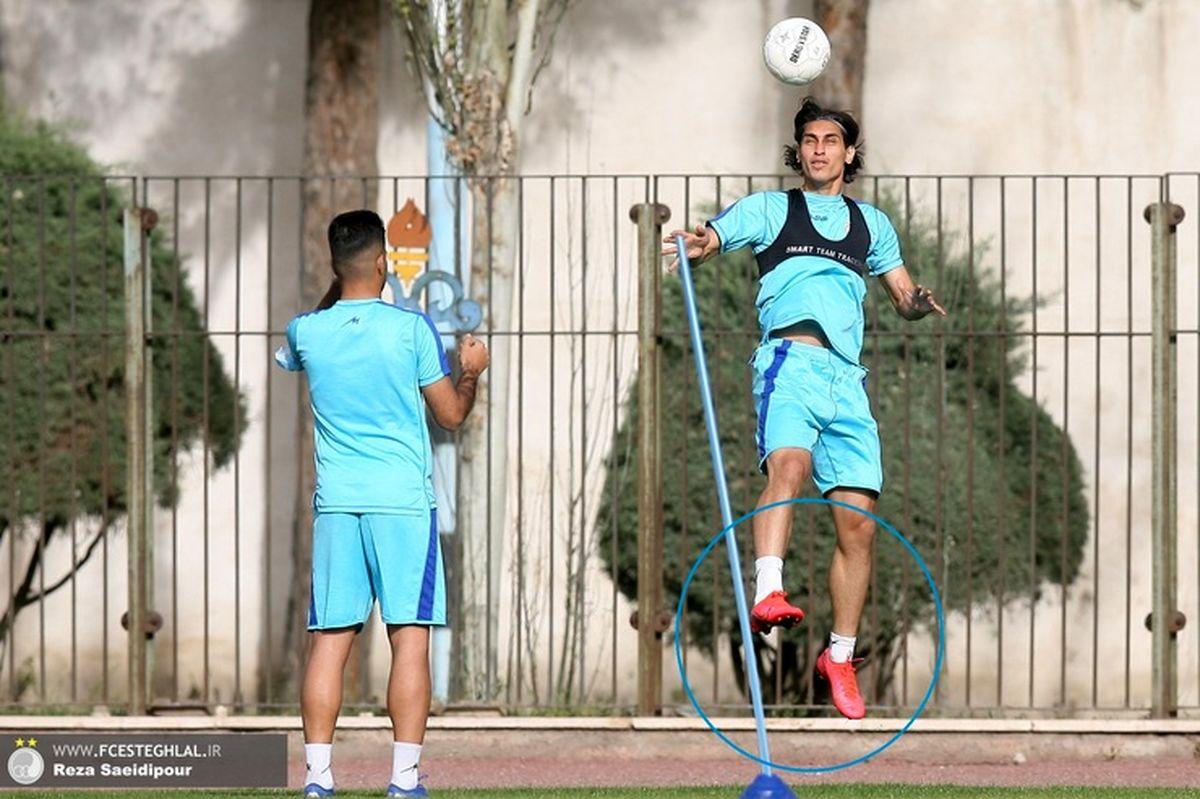 تمرین محمد نادری با کفش استوک قرمز