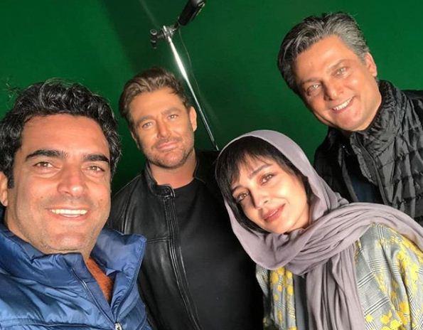 ساره بیان و محمدرضا گلزار در پشت صحنه سریال عاشقانه 2