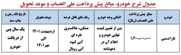 پیش فروش ایران خودرو در شهریور 1400