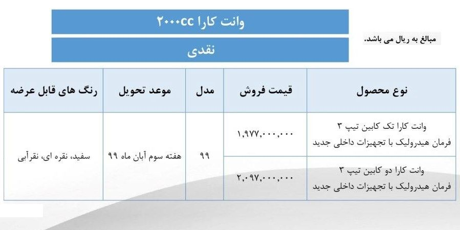 طرح جدید فروش نقدی وانت کارا تک کابین و دوکابین - مهر 99
