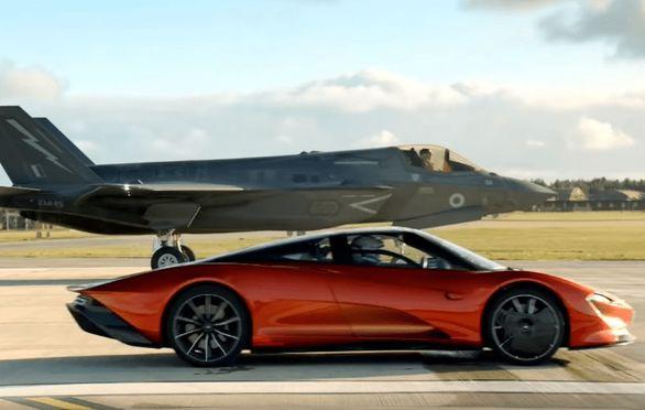 مسابقه درگ بین مک لارن اسپیدتیل و جنگنده F35 (فیلم)