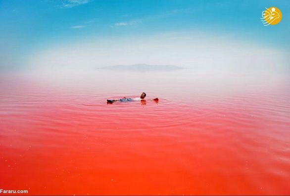 تصاویر عجیب از دریاچه ارومیه